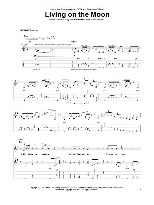 Tablature guitare Living On The Moon de Joe Bonamassa - Tablature Guitare