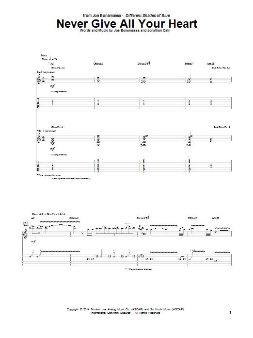 Tablature guitare Never Give All Your Heart de Joe Bonamassa - Tablature Guitare