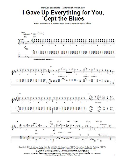 Tablature guitare I Gave Up Everything For You, 'Cept The Blues de Joe Bonamassa - Tablature Guitare