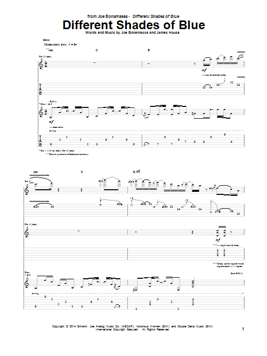 Tablature guitare Different Shades Of Blue de Joe Bonamassa - Tablature Guitare