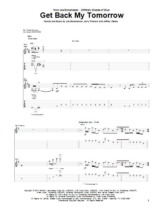 Tablature guitare Get Back My Tomorrow de Joe Bonamassa - Tablature Guitare