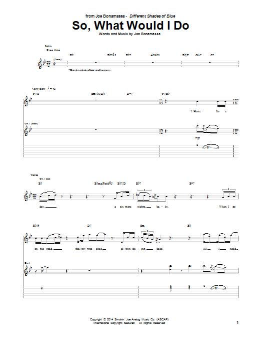 Tablature guitare So, What Would I Do de Joe Bonamassa - Tablature Guitare