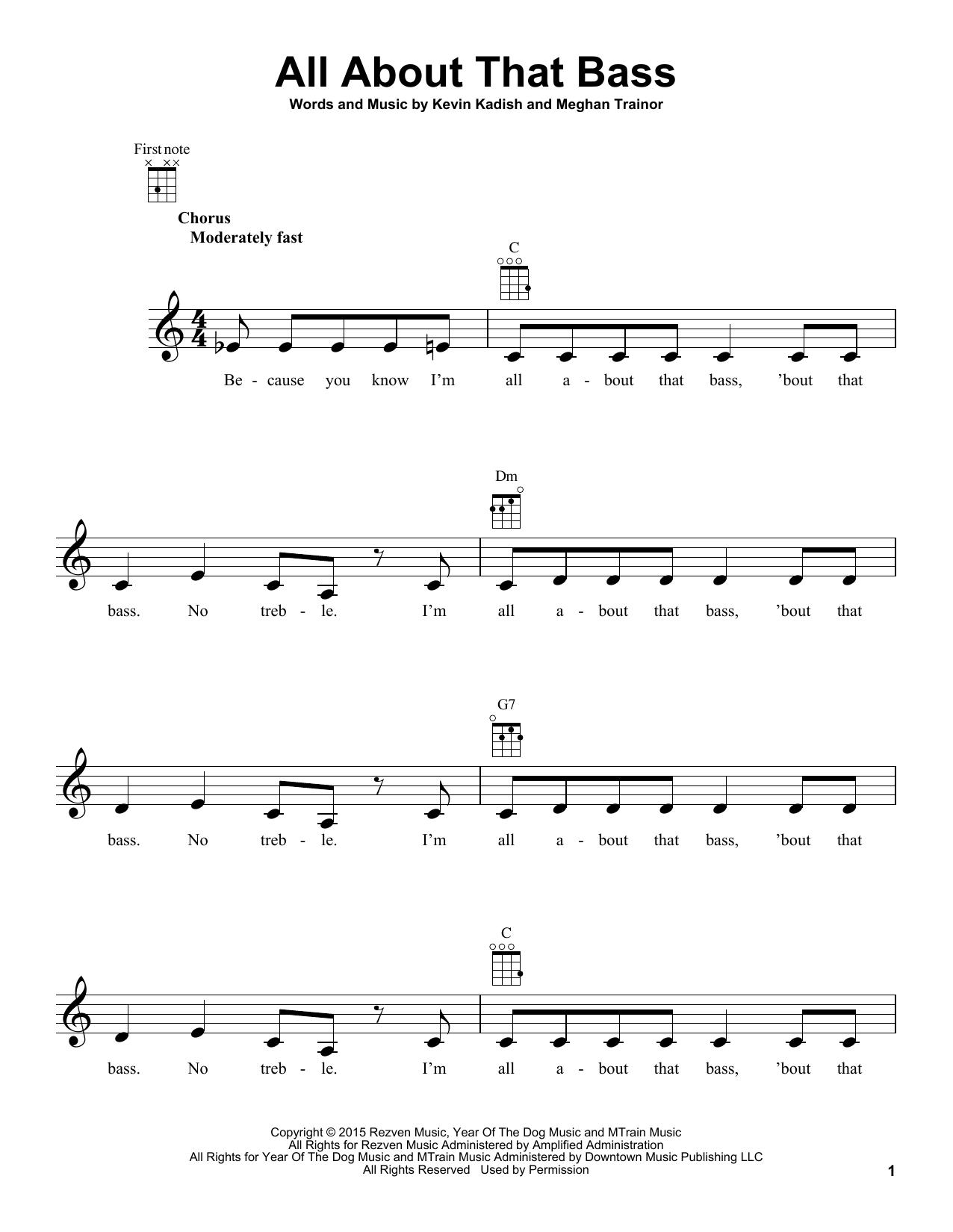 Tablature guitare All About That Bass de Meghan Trainor - Ukulele