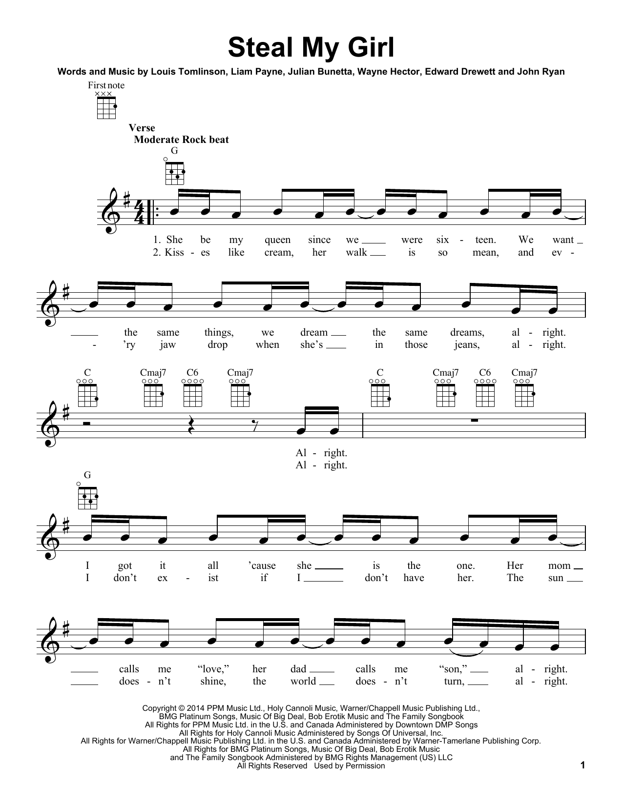 Tablature guitare Steal My Girl de One Direction - Ukulele