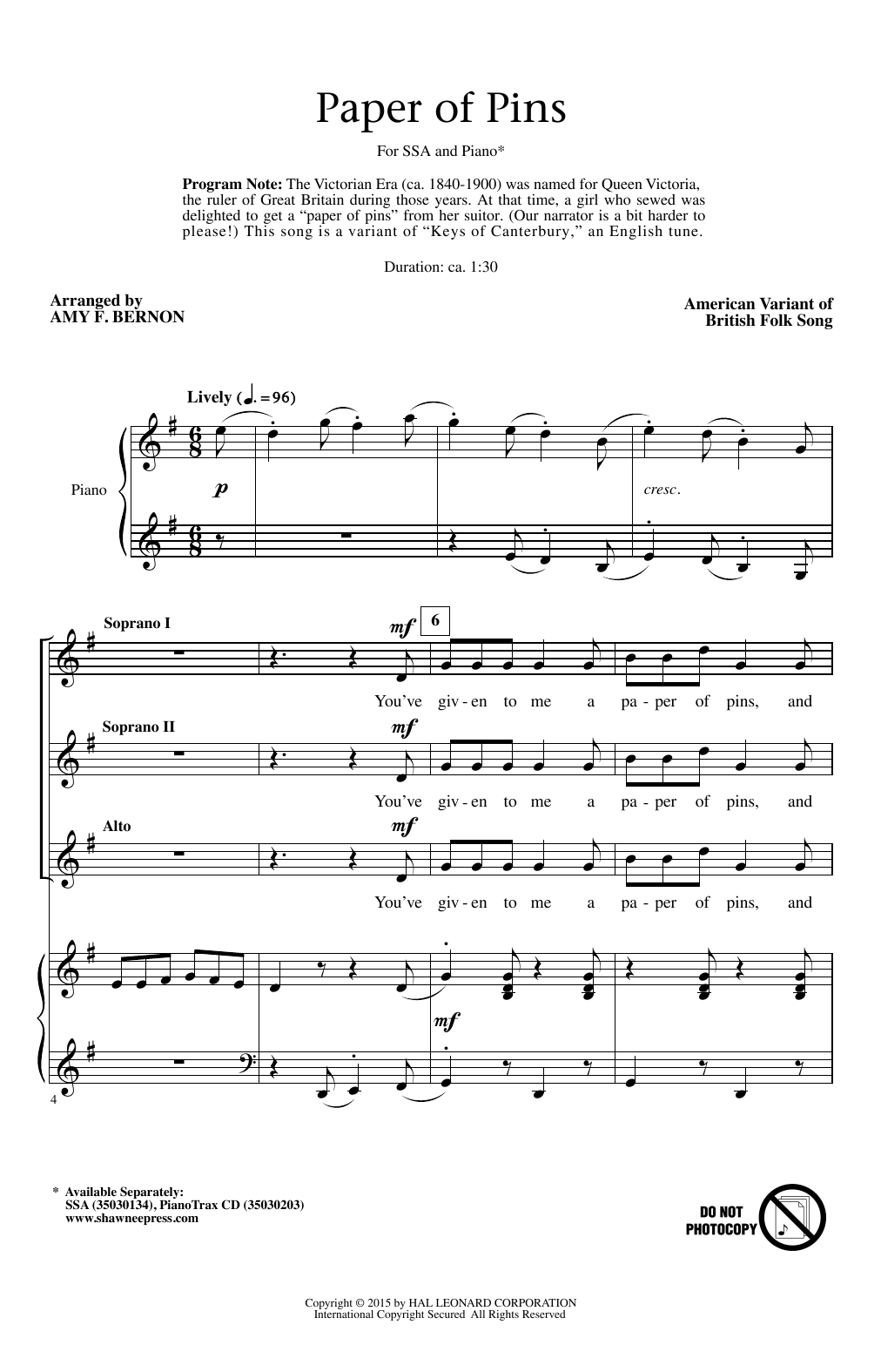 Partition chorale A Paper Of Pins de  - SSA