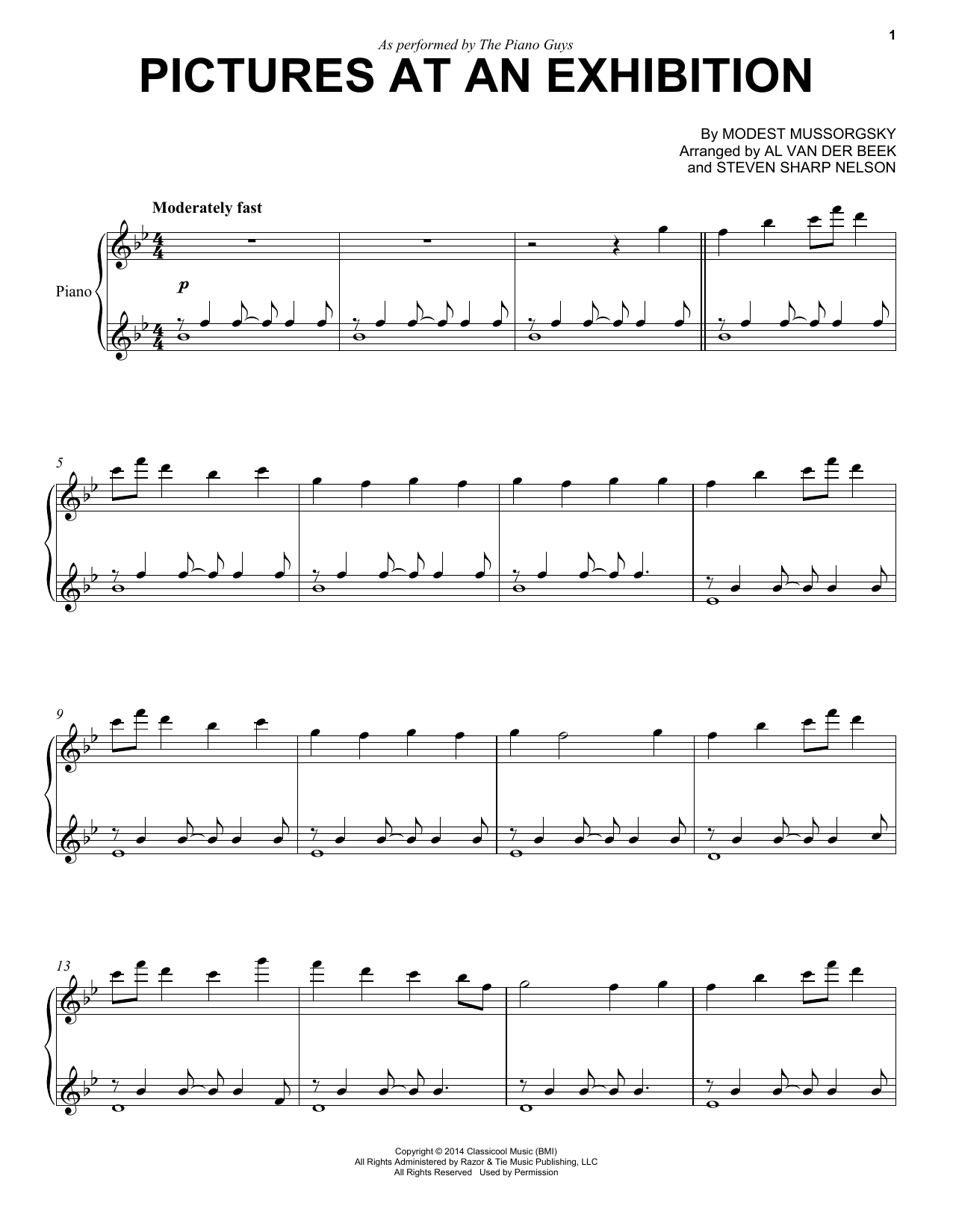 Partition piano Pictures At An Exhibition de The Piano Guys - Piano Solo