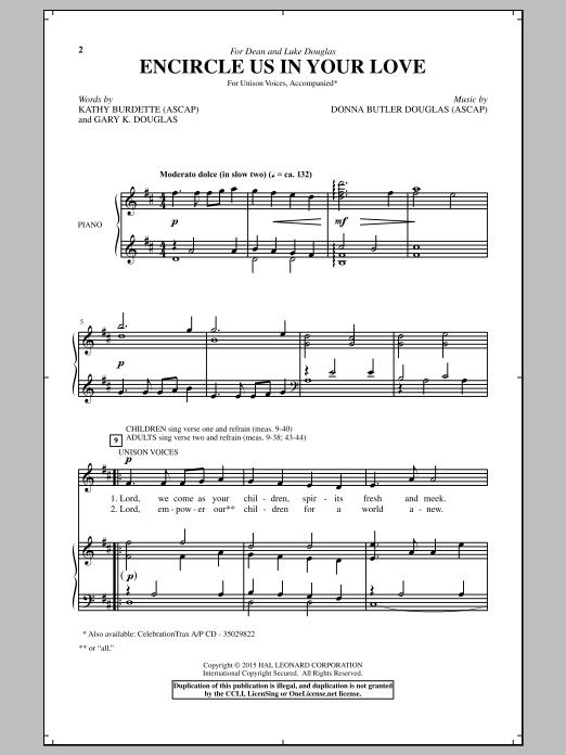 Partition chorale Encircle Us In Your Love de Donna Butler Douglas - Unisson