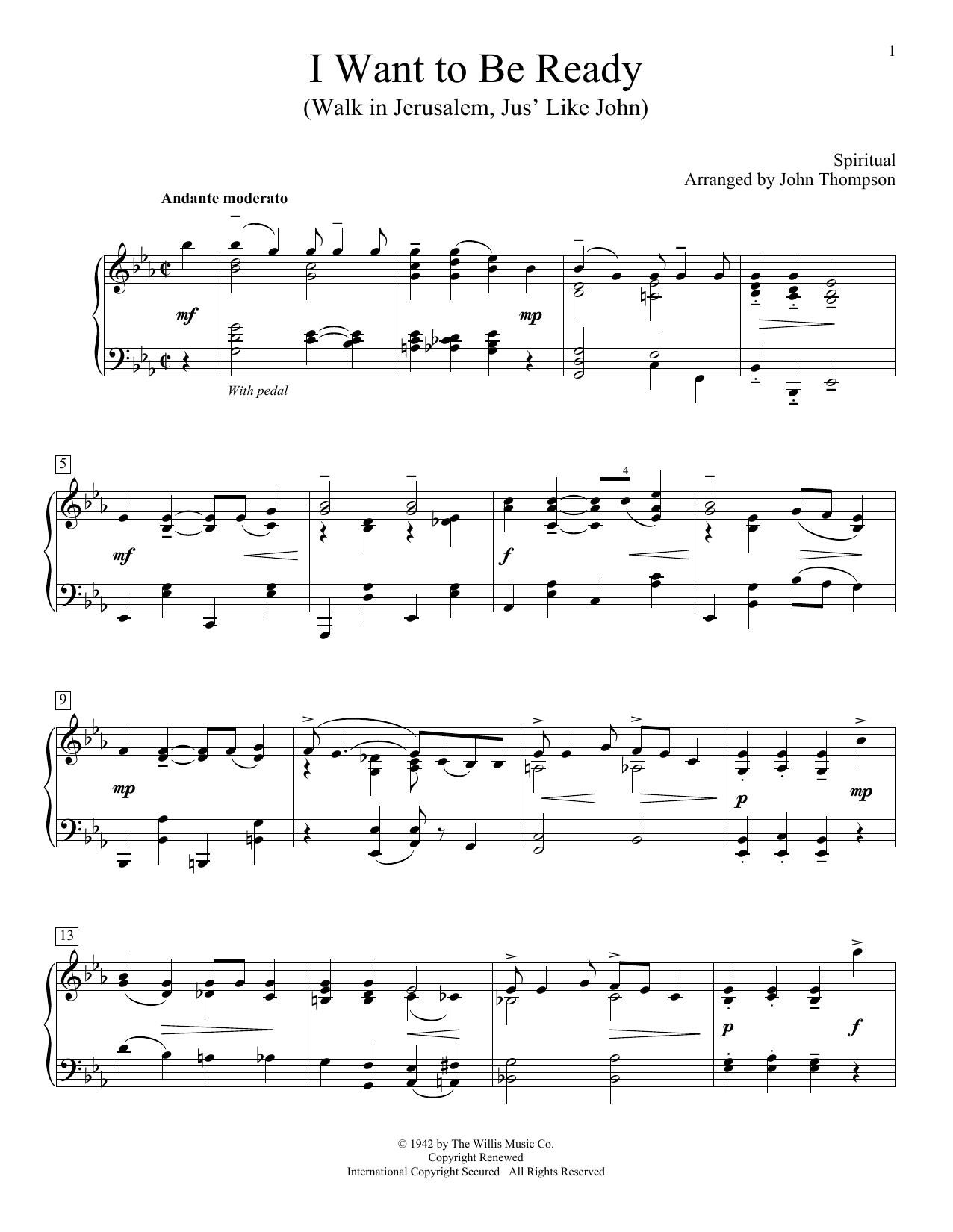 Partition piano I Want To Be Ready (Walk In Jerusalem, Jus' Like John) de John Thompson - Piano Facile