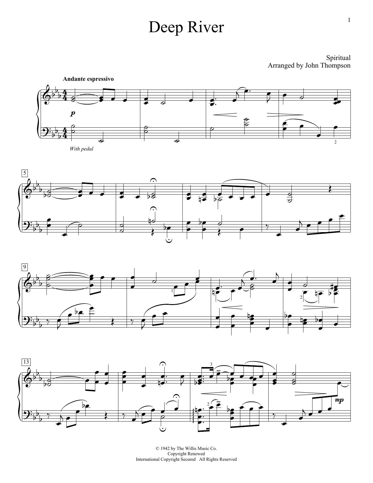 Partition piano Deep River de Traditional Spiritual - Piano Facile