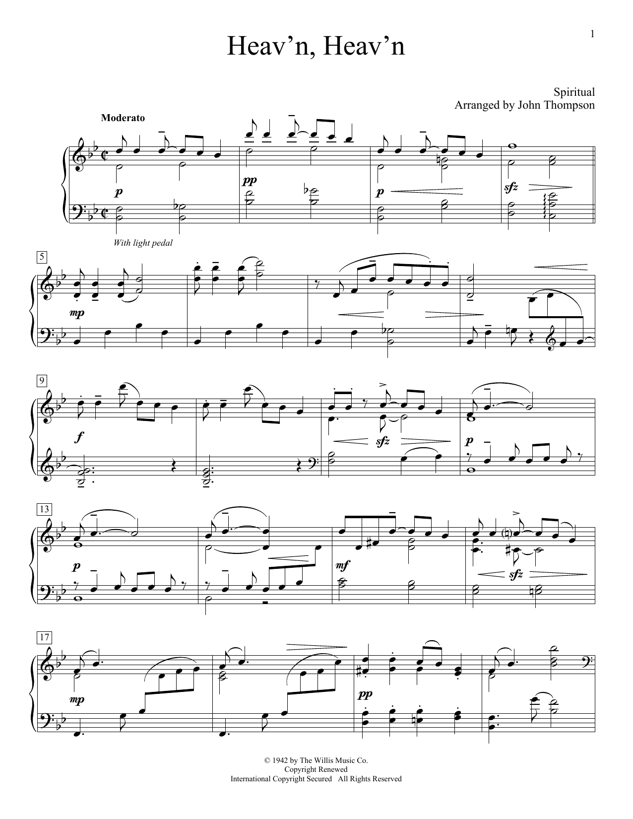 Partition piano Heav'n, Heav'n de John Thompson - Piano Facile