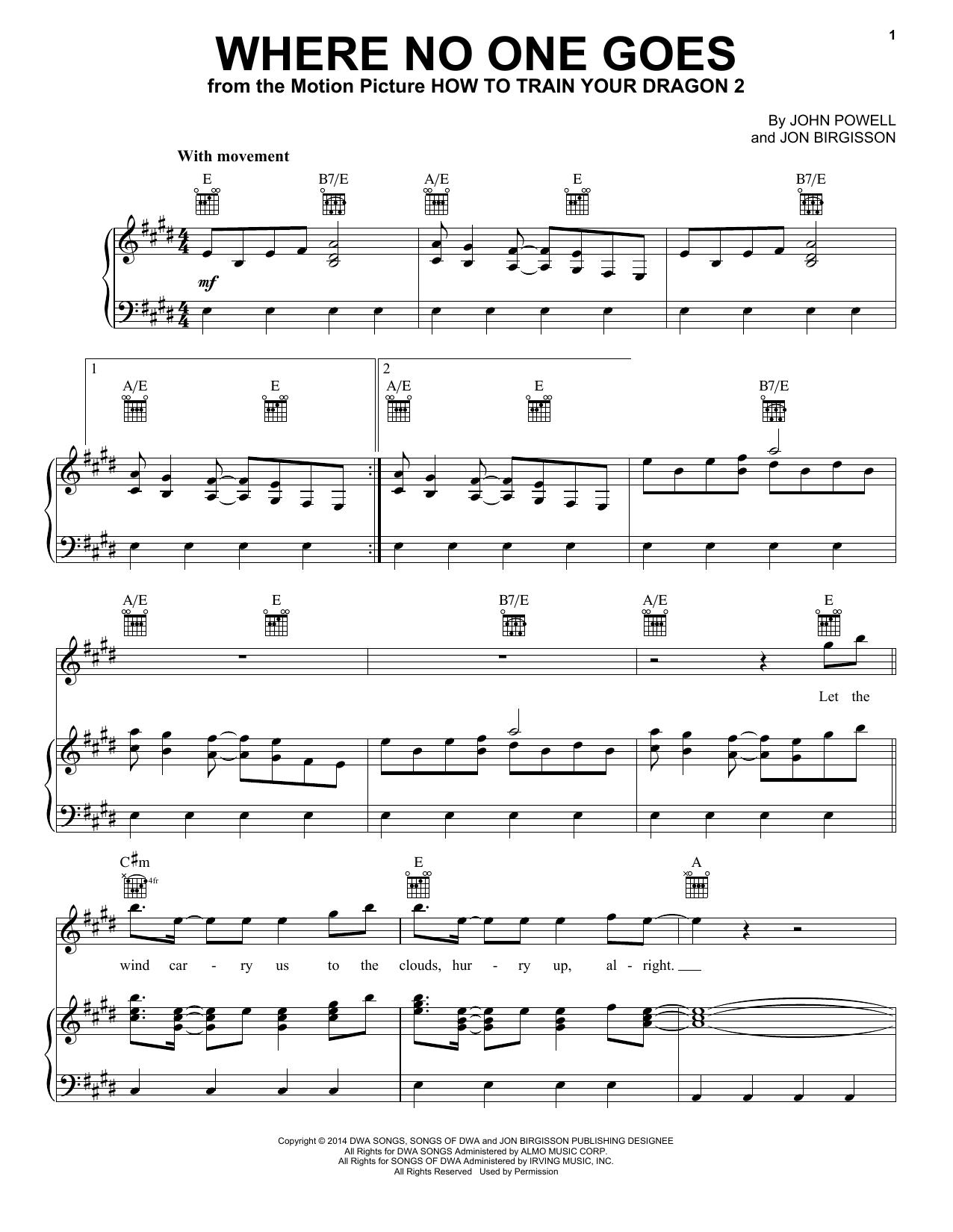 Partition piano Where No One Goes de Jonsi - Piano Voix Guitare (Mélodie Main Droite)