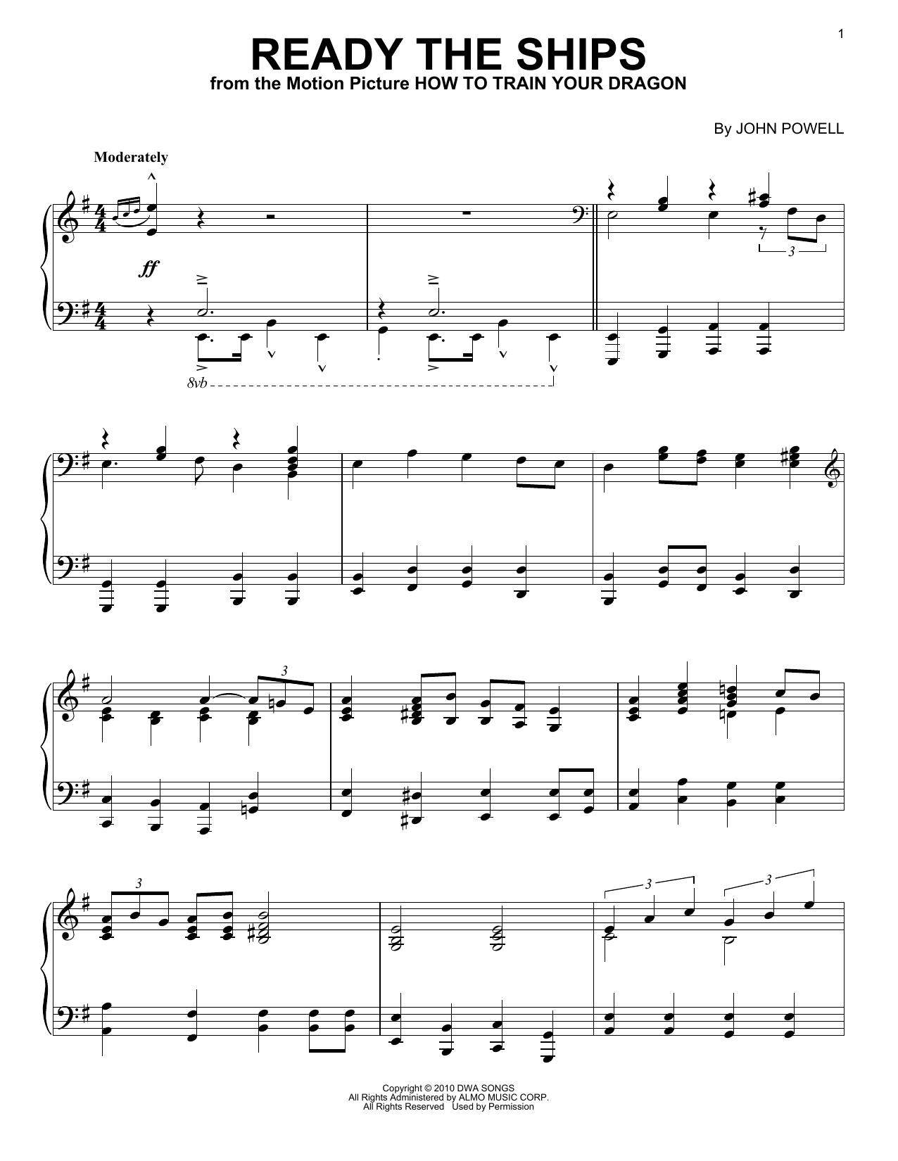 Partition piano Ready The Ships de John Powell - Piano Solo