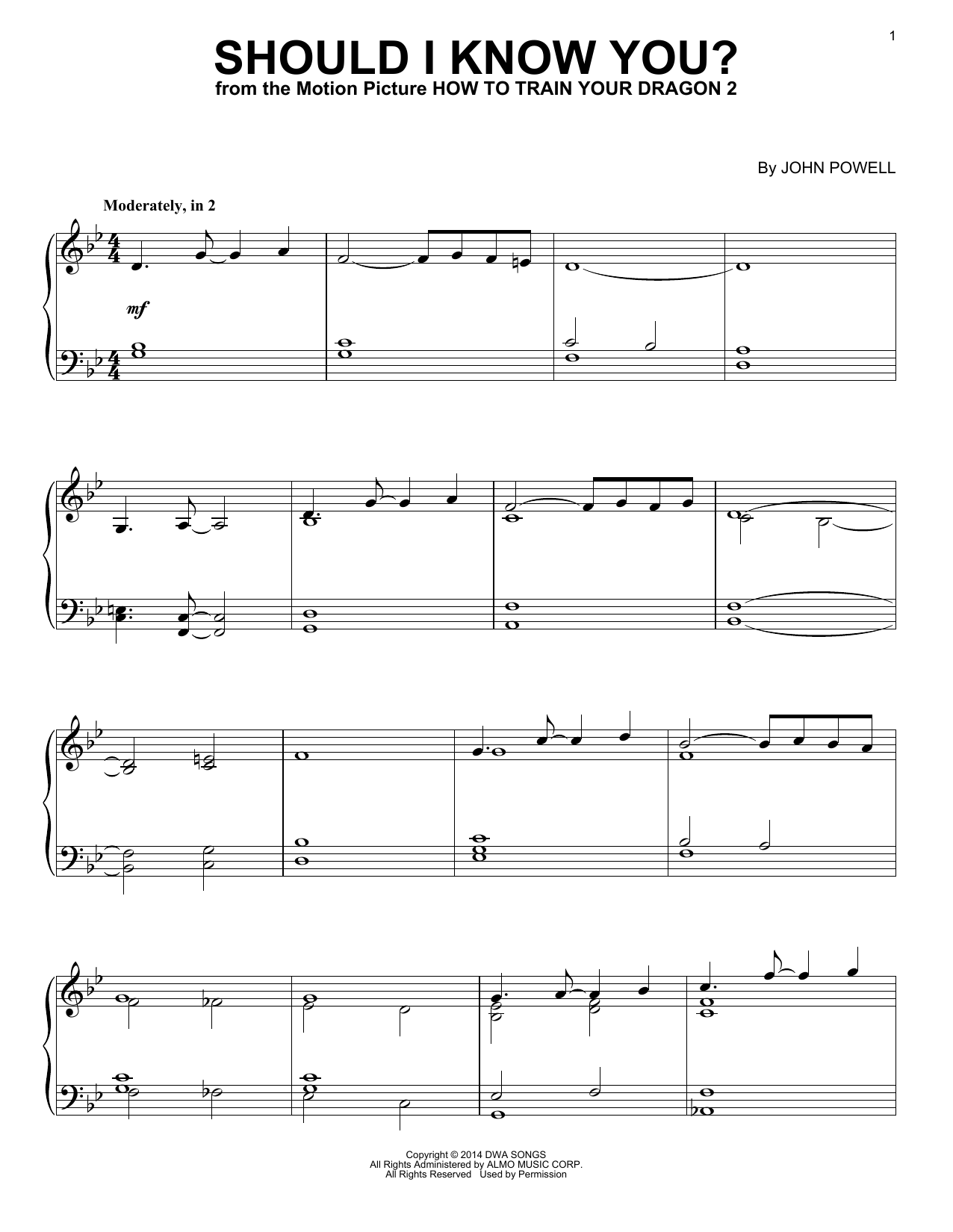 Partition piano Should I Know You? de John Powell - Piano Solo