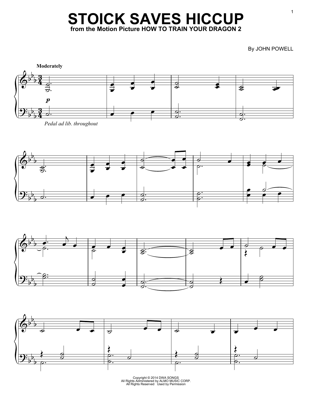 Partition piano Stoick Saves Hiccup de John Powell - Piano Solo