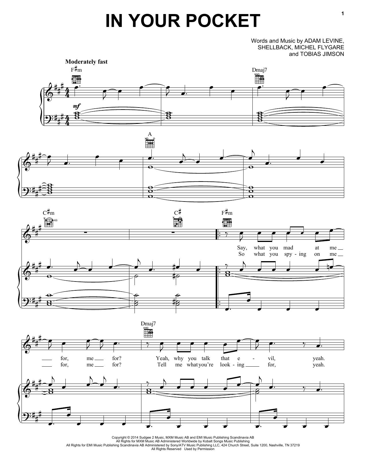 Partition piano In Your Pocket de Maroon 5 - Piano Voix Guitare (Mélodie Main Droite)