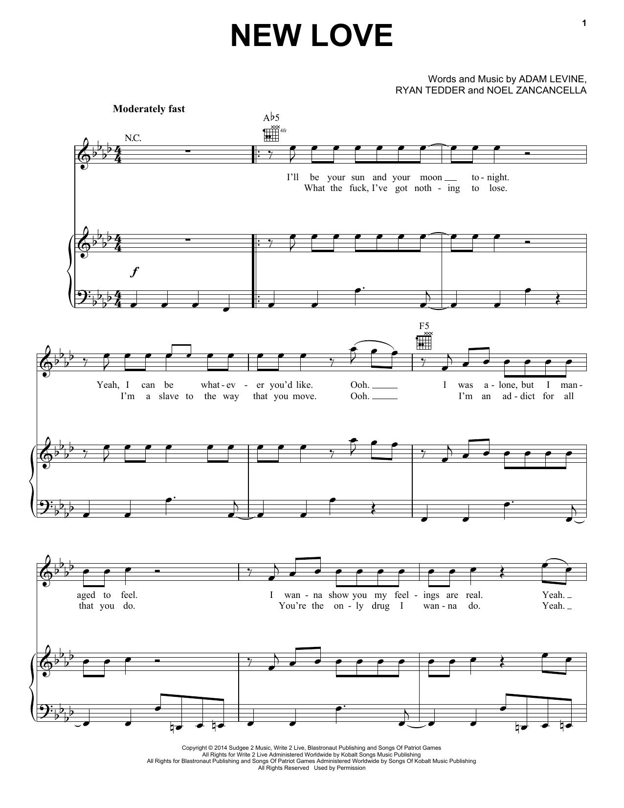 Partition piano New Love de Maroon 5 - Piano Voix Guitare (Mélodie Main Droite)