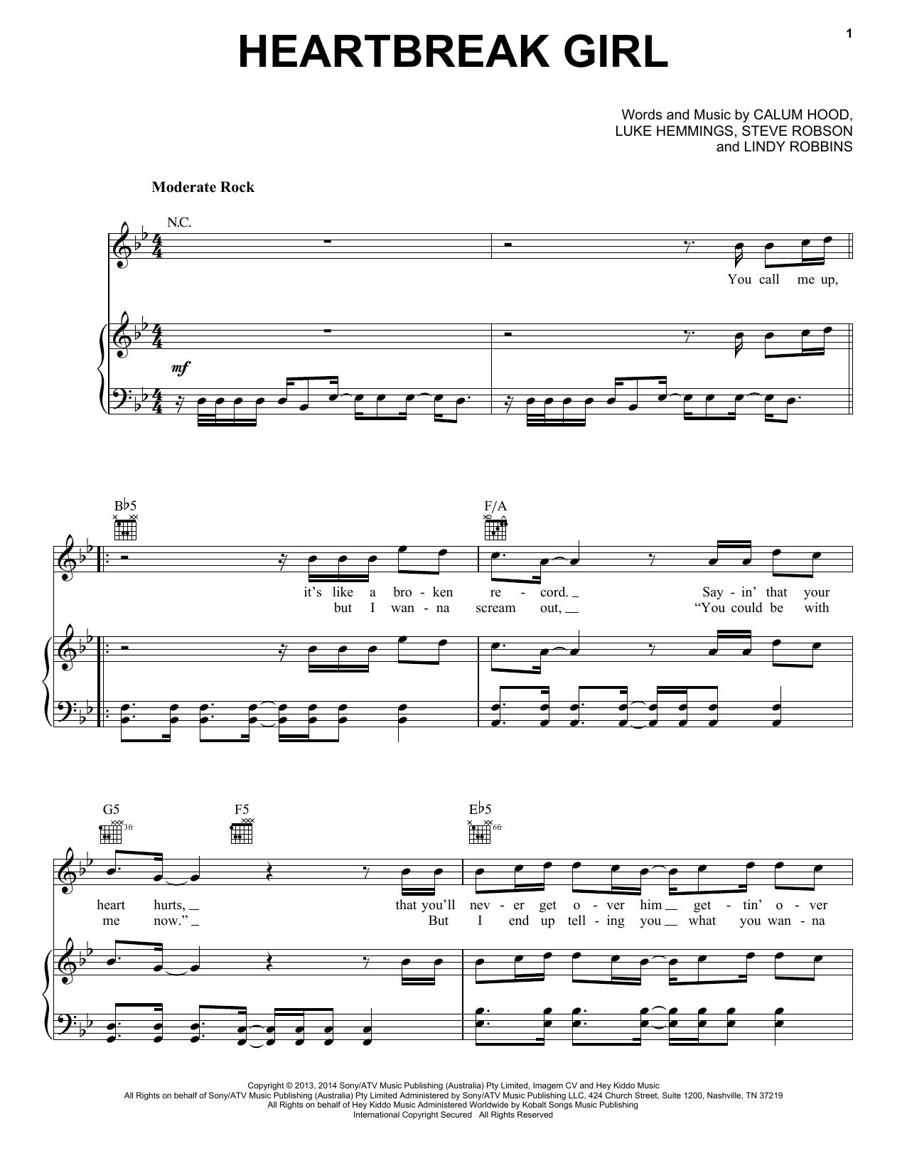 Partition piano Heartbreak Girl de 5 Seconds Of Summer - Piano Voix Guitare (Mélodie Main Droite)