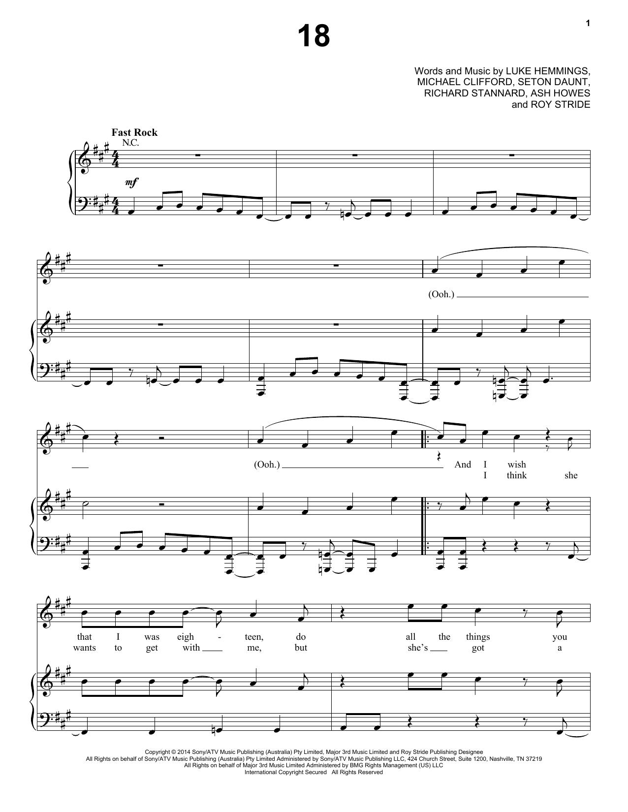 Partition piano 18 de 5 Seconds Of Summer - Piano Voix Guitare (Mélodie Main Droite)