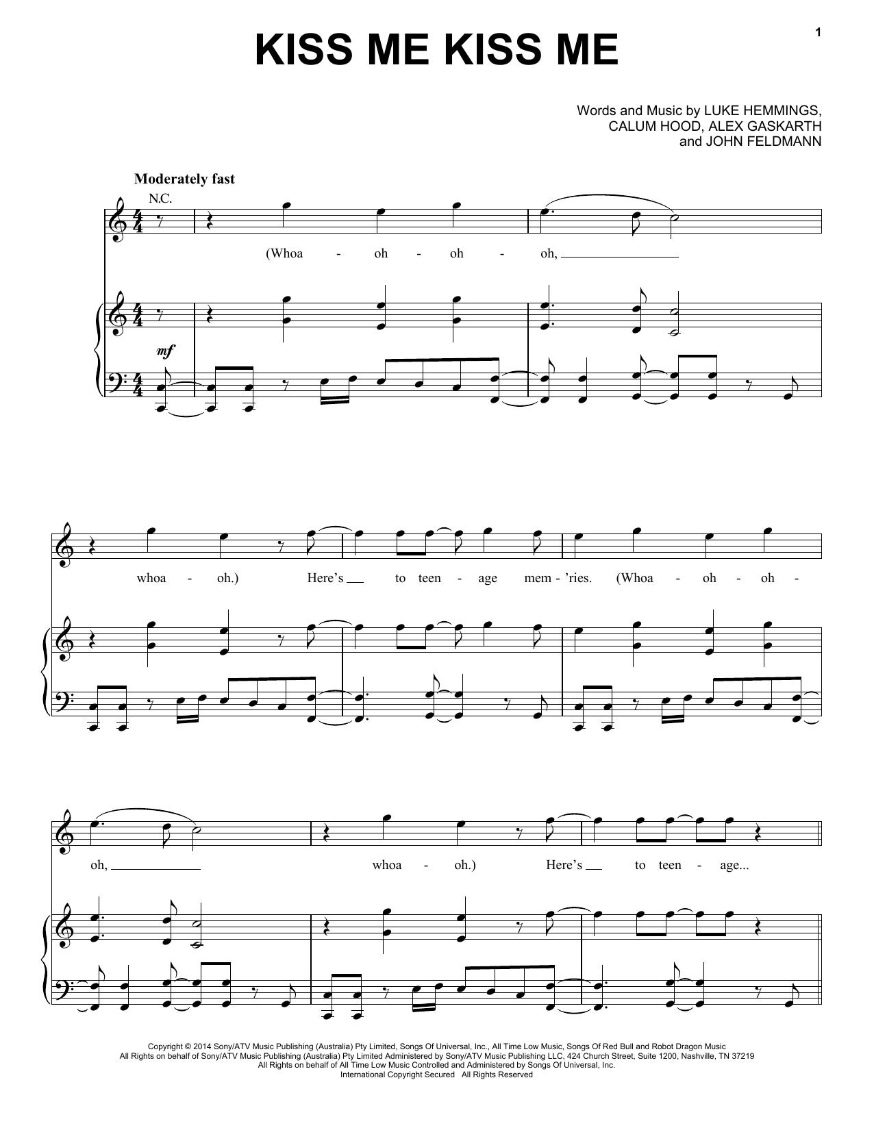 Partition piano Kiss Me Kiss Me de 5 Seconds Of Summer - Piano Voix Guitare (Mélodie Main Droite)