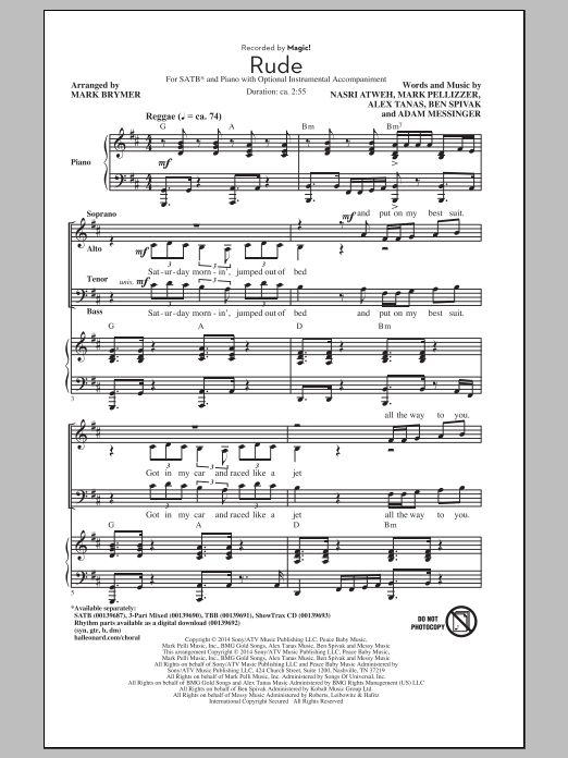 Partition chorale Rude (arr. Mark Brymer) de MAGIC! - SATB