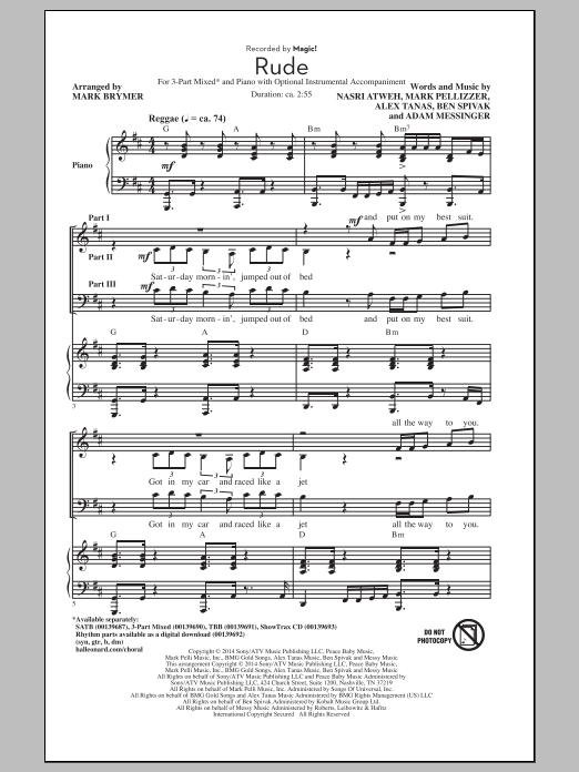 Partition chorale Rude (arr. Mark Brymer) de MAGIC! - 3 voix mixtes