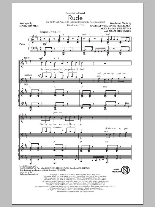 Partition chorale Rude (arr. Mark Brymer) de MAGIC! - TBB