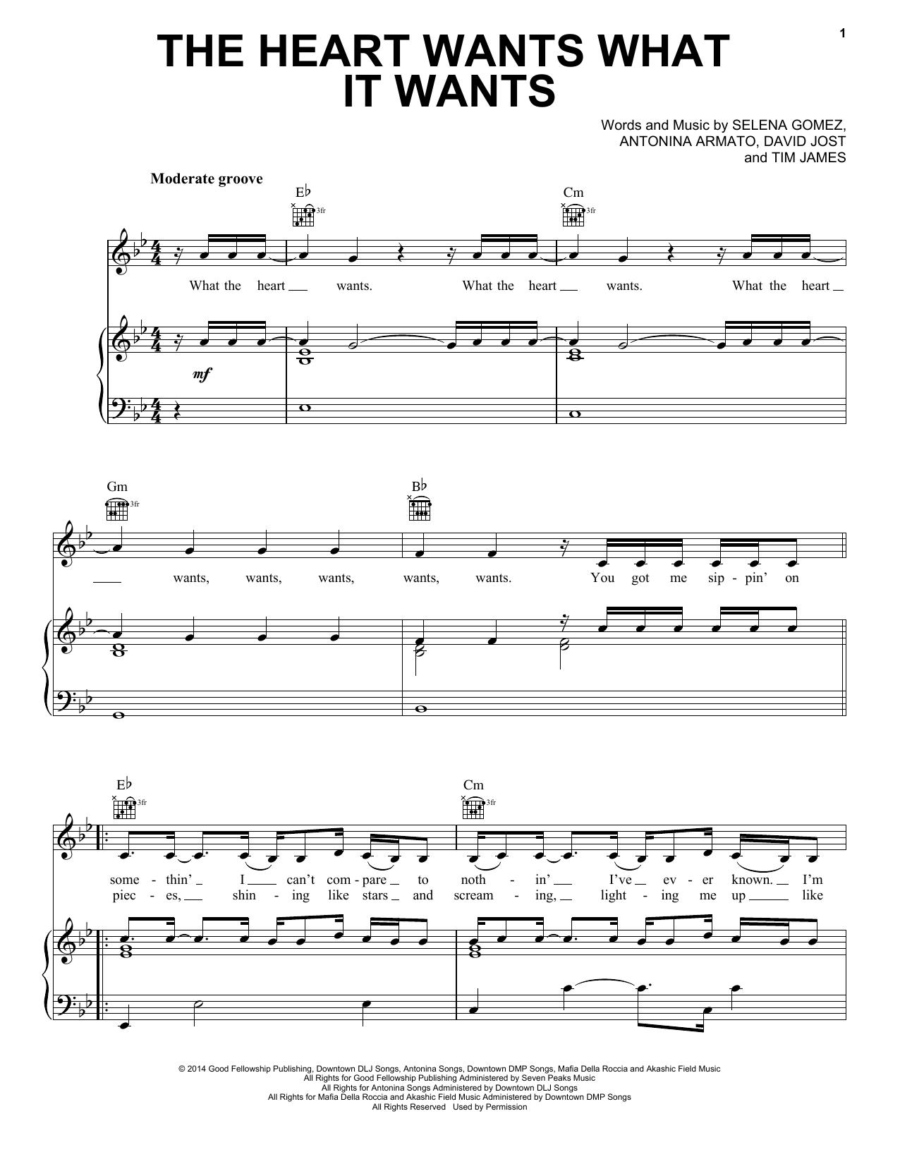 Partition piano The Heart Wants What It Wants de Selena Gomez - Piano Voix Guitare (Mélodie Main Droite)
