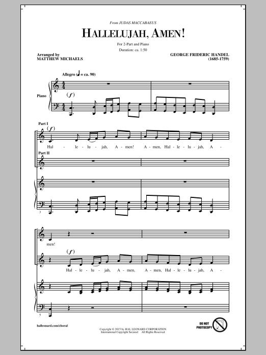 Partition chorale Hallelujah, Amen! (arr. Matthew Michaels) de George Frideric Handel - 2 voix