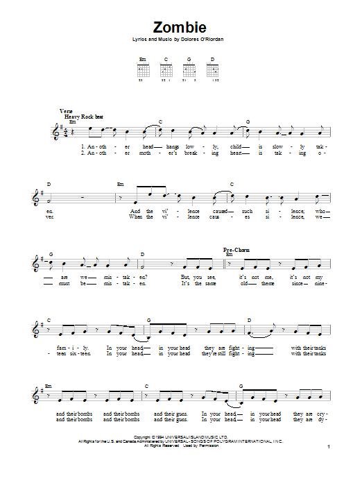 Tablature guitare Zombie de The Cranberries - Tablature guitare facile