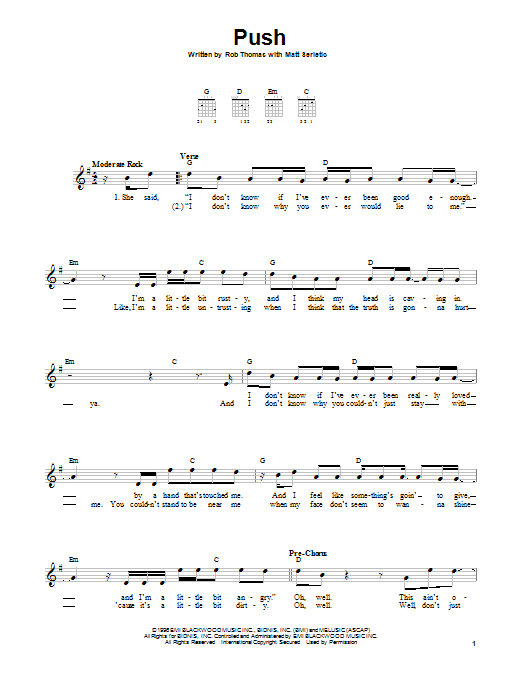 Tablature guitare Push de Matchbox Twenty - Tablature guitare facile