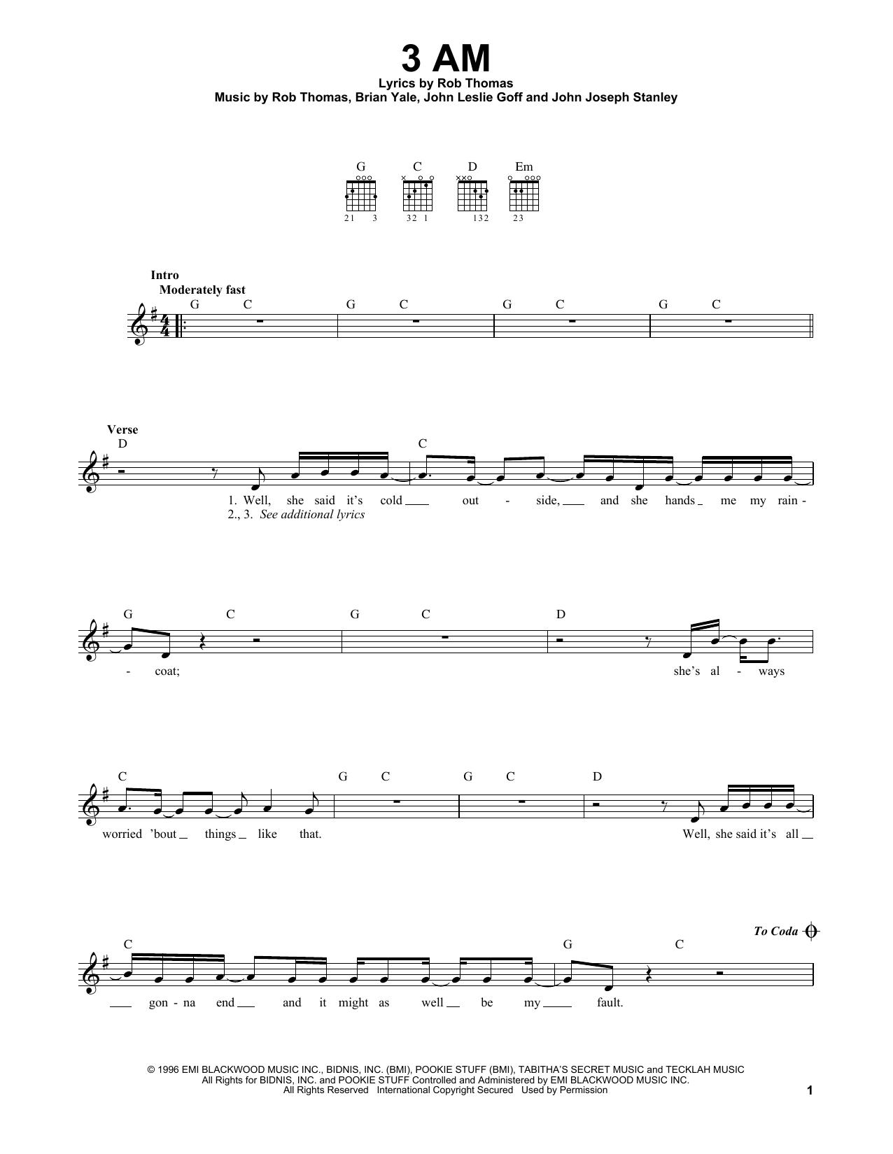 Tablature guitare 3 AM de Matchbox 20 - Tablature guitare facile