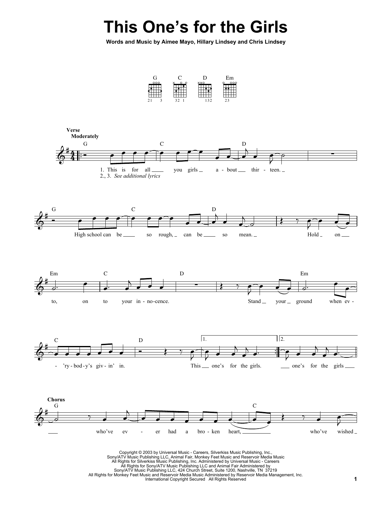 Tablature guitare This One's For The Girls de Martina McBride - Tablature guitare facile