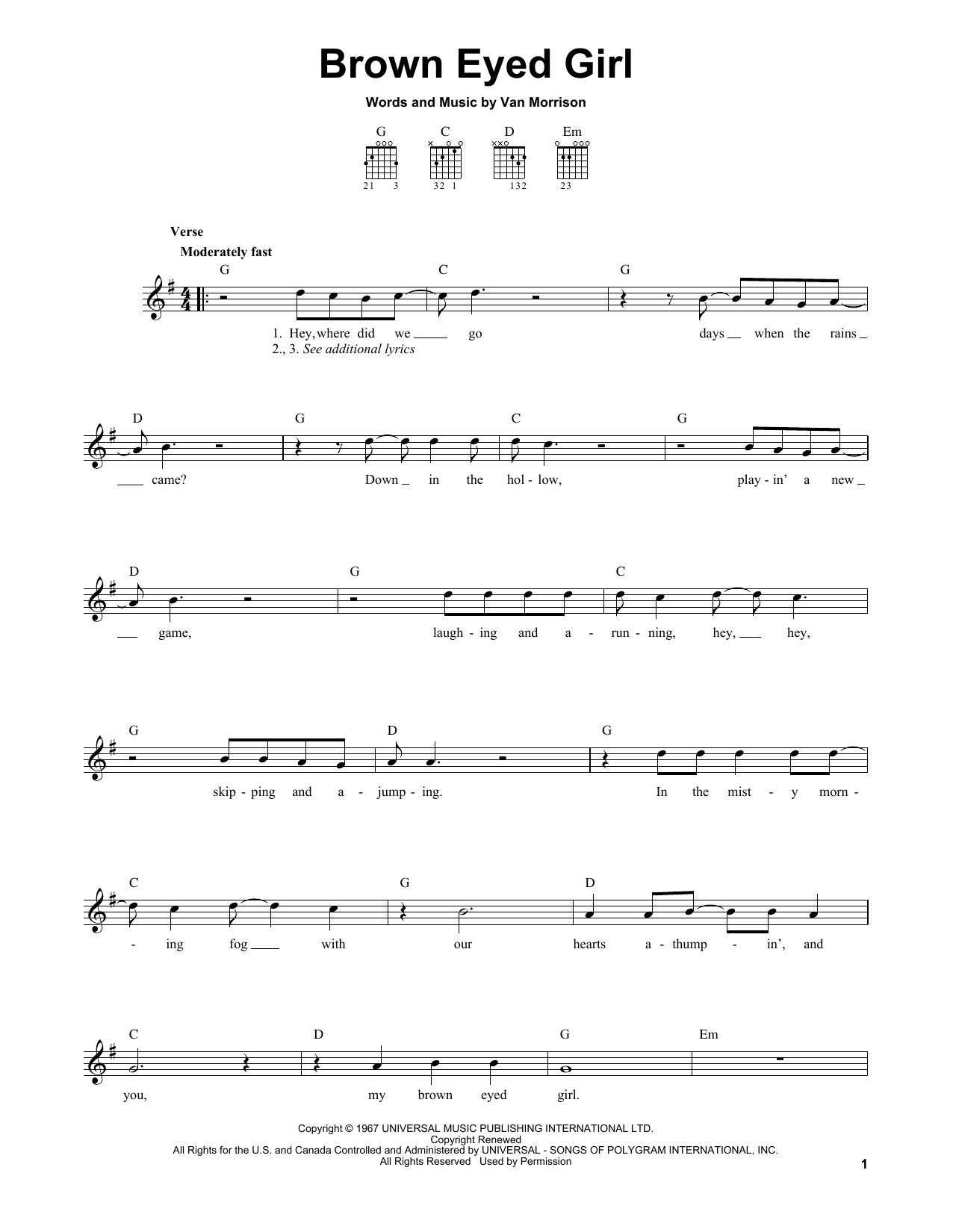 Tablature guitare Brown Eyed Girl de Van Morrison - Tablature guitare facile