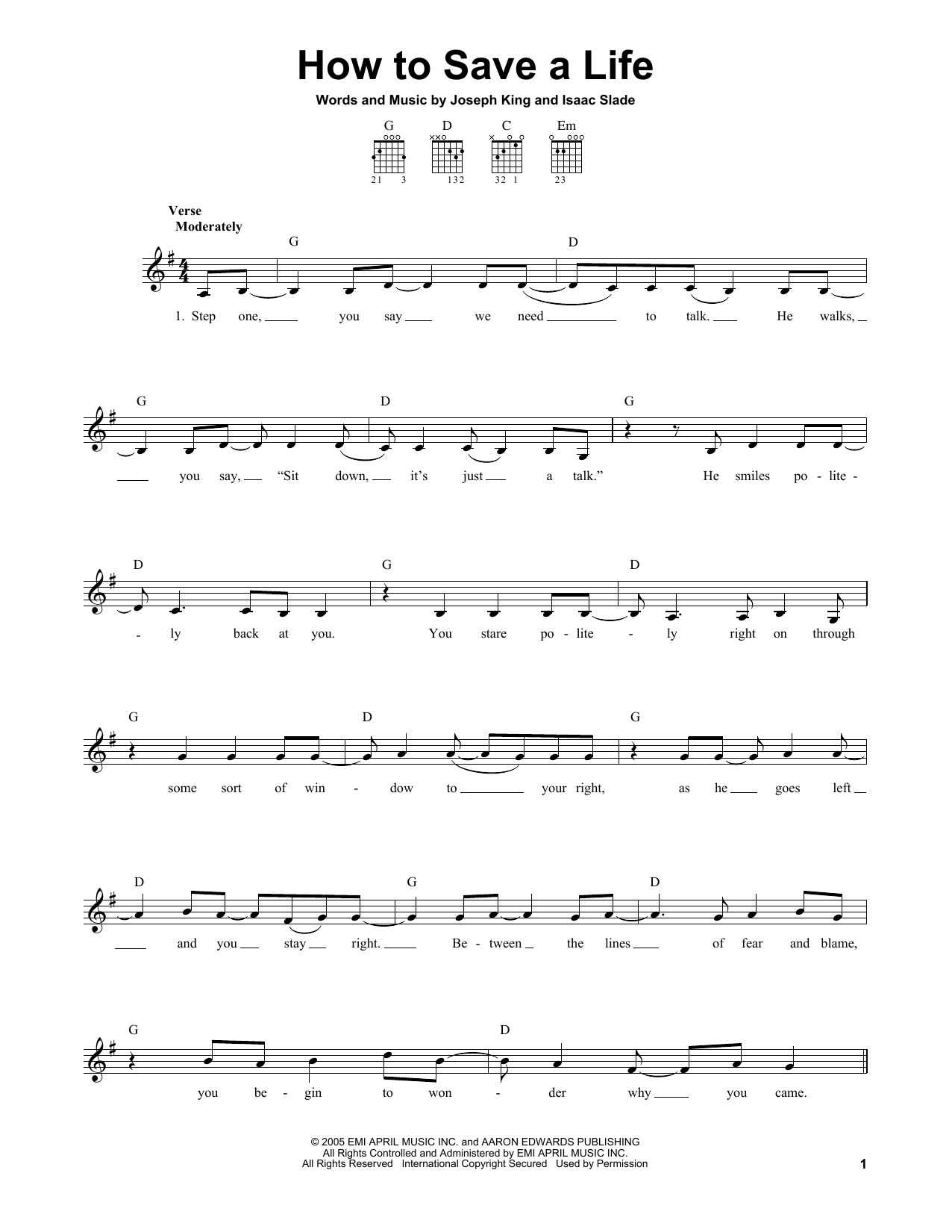 Tablature guitare How To Save A Life de The Fray - Tablature guitare facile
