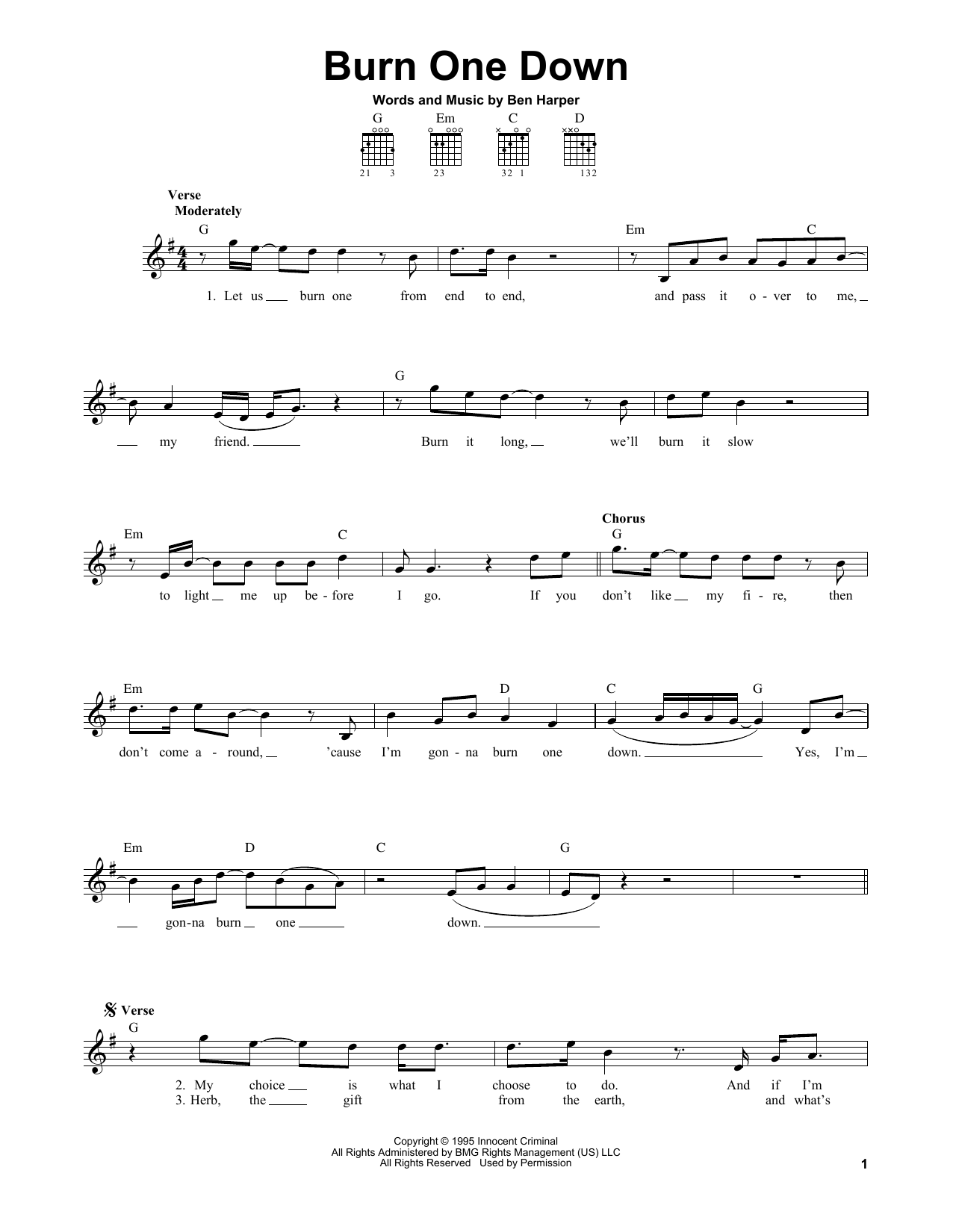 Tablature guitare Burn One Down de Ben Harper - Tablature guitare facile
