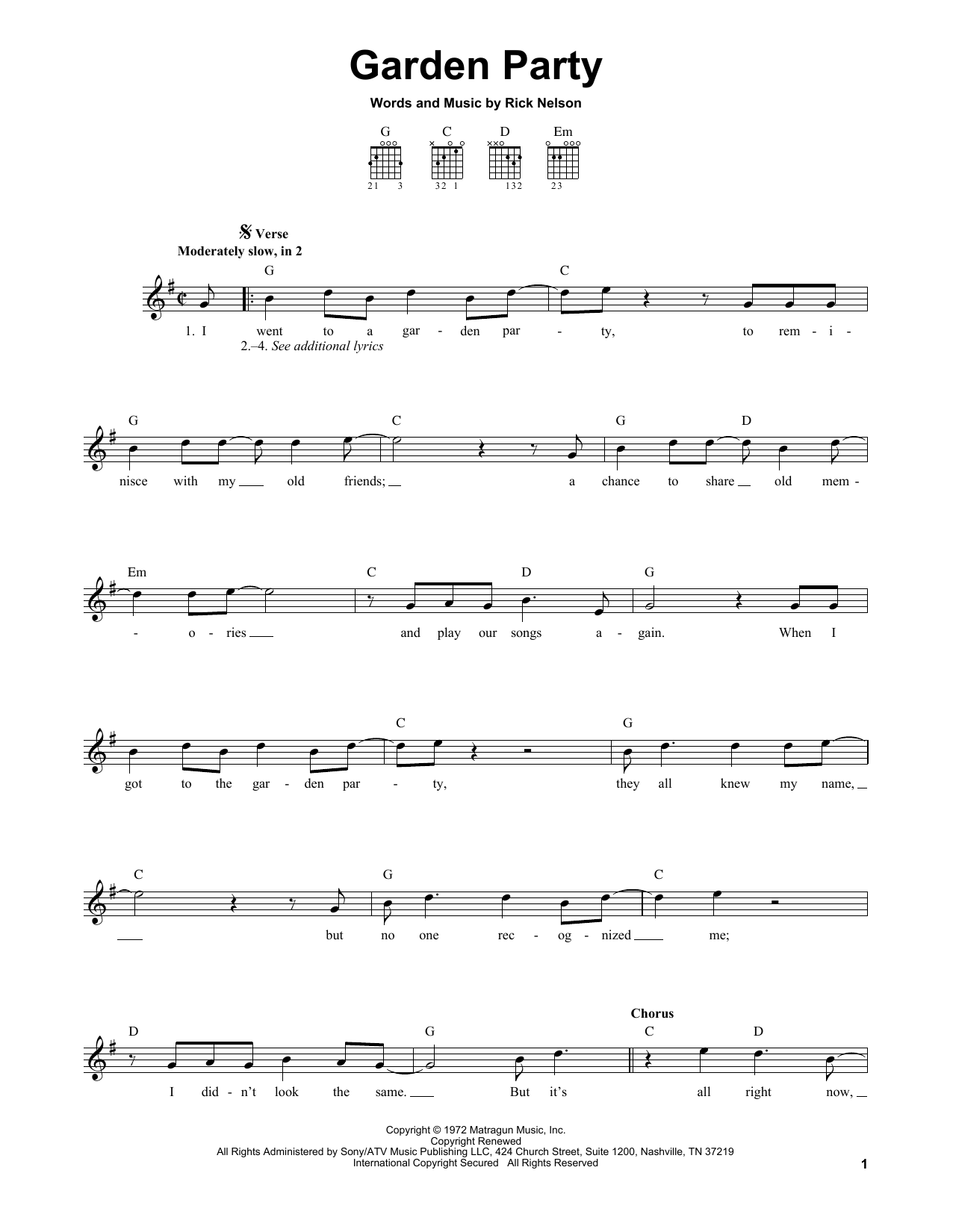Tablature guitare Garden Party de Ricky Nelson - Tablature guitare facile