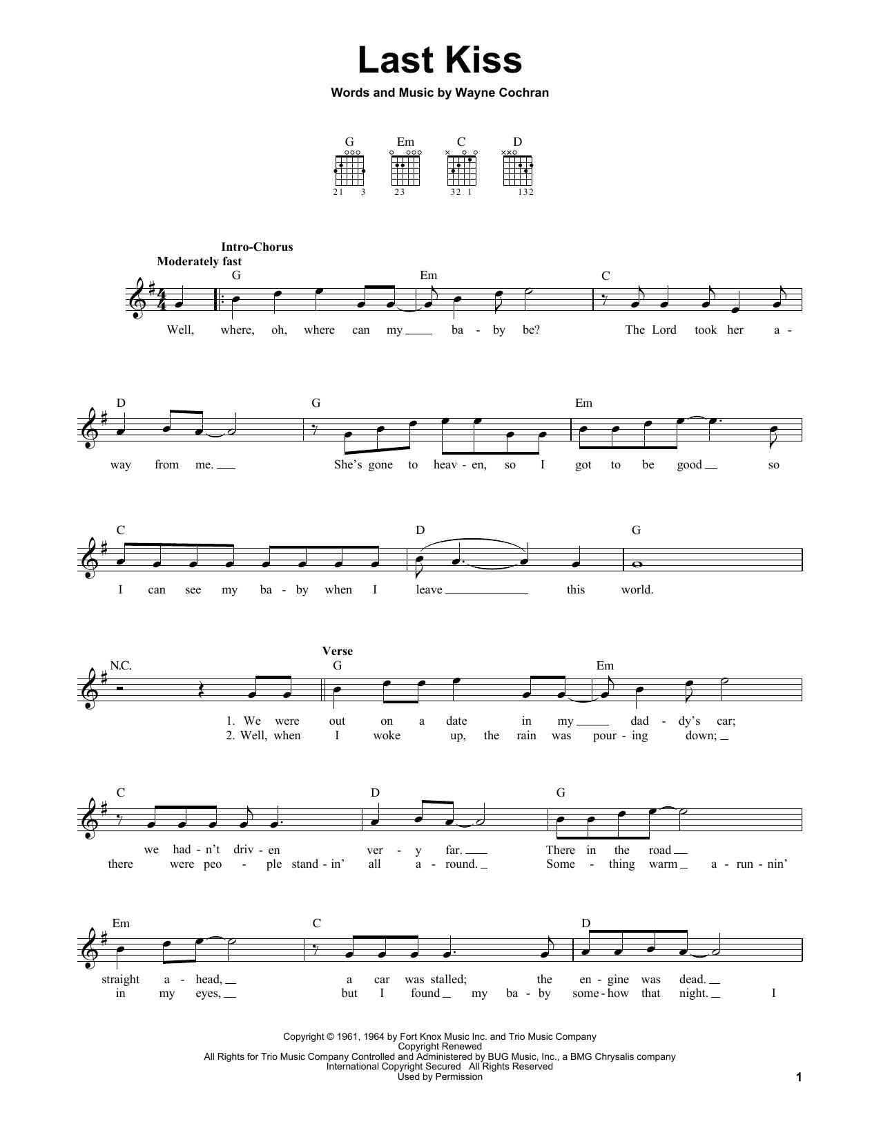 Tablature guitare Last Kiss de Pearl Jam - Tablature guitare facile