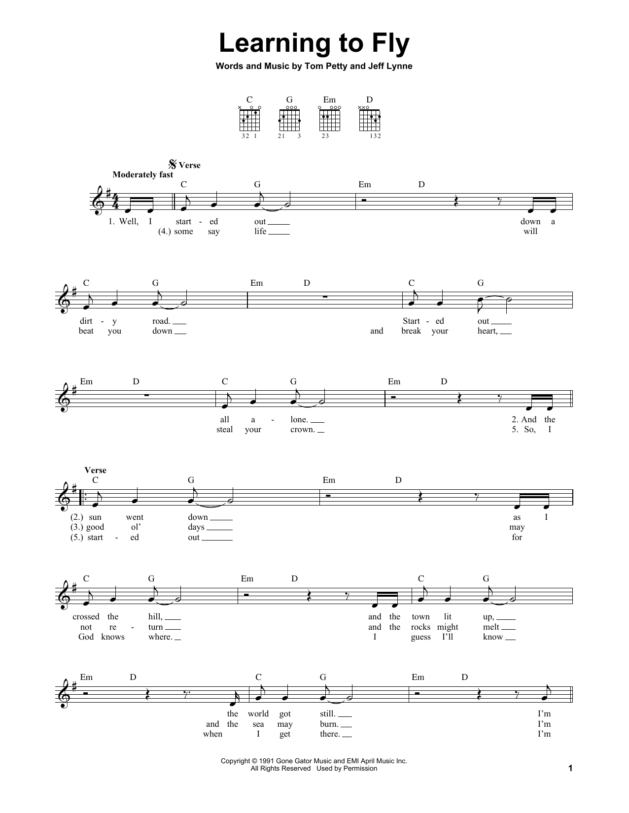 Tablature guitare Learning To Fly de Tom Petty - Tablature guitare facile
