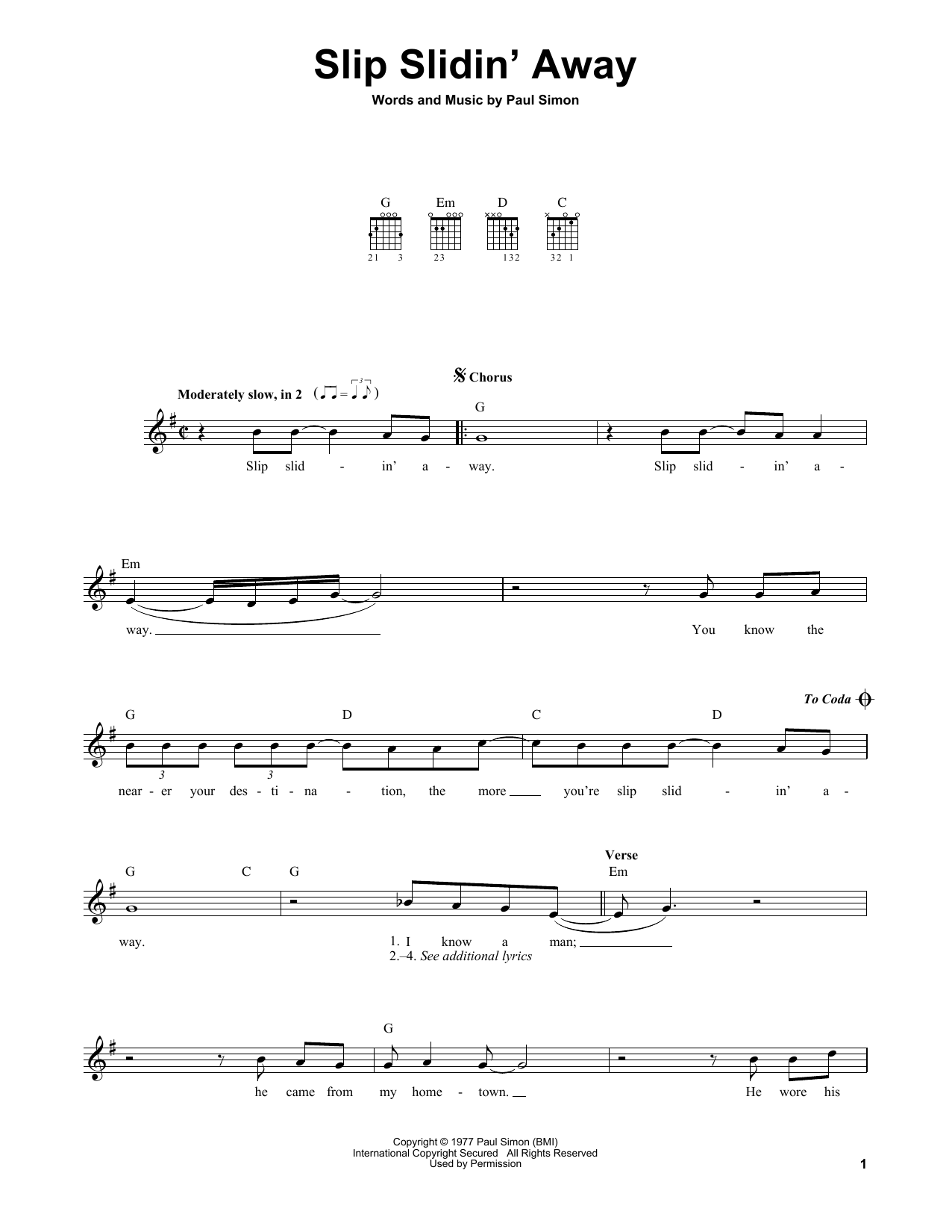 Tablature guitare Slip Slidin' Away de Simon & Garfunkel - Tablature guitare facile