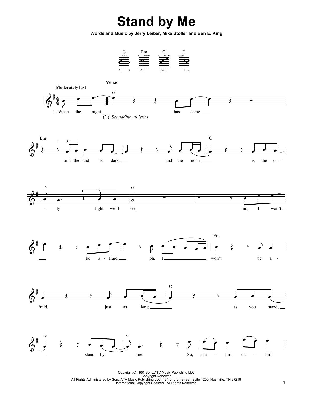Tablature guitare Stand By Me de Ben E. King - Tablature guitare facile