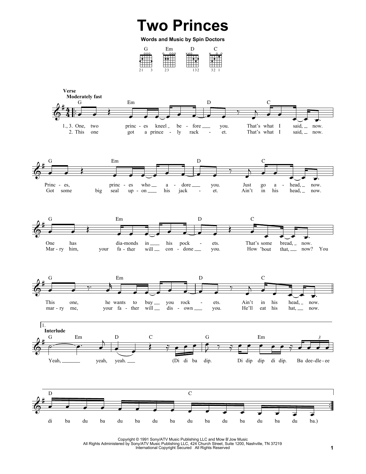 Tablature guitare Two Princes de Spin Doctors - Tablature guitare facile
