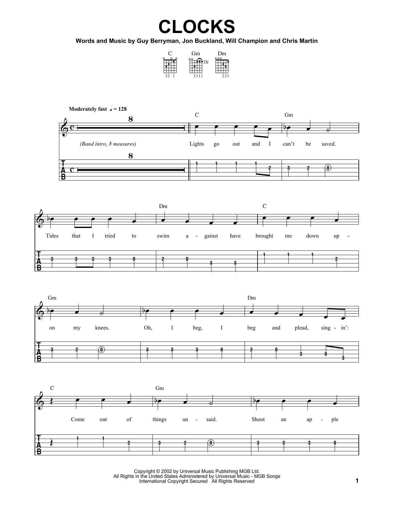 coldplay clocks piano sheet music pdf