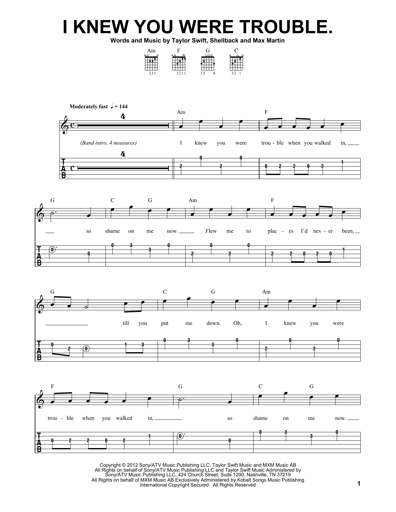 Tablature guitare I Knew You Were Trouble de Taylor Swift - Tablature guitare facile