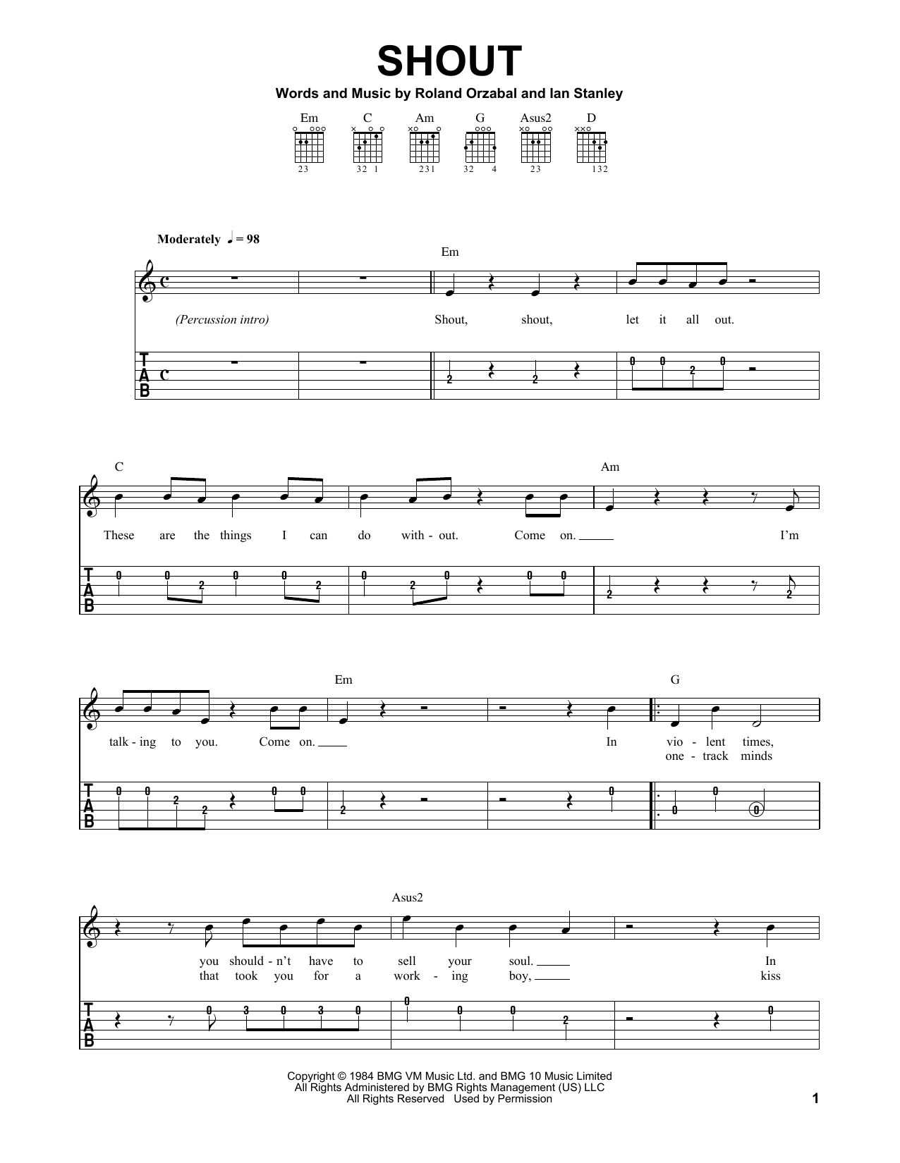Tablature guitare Shout de Tears for Fears - Tablature guitare facile