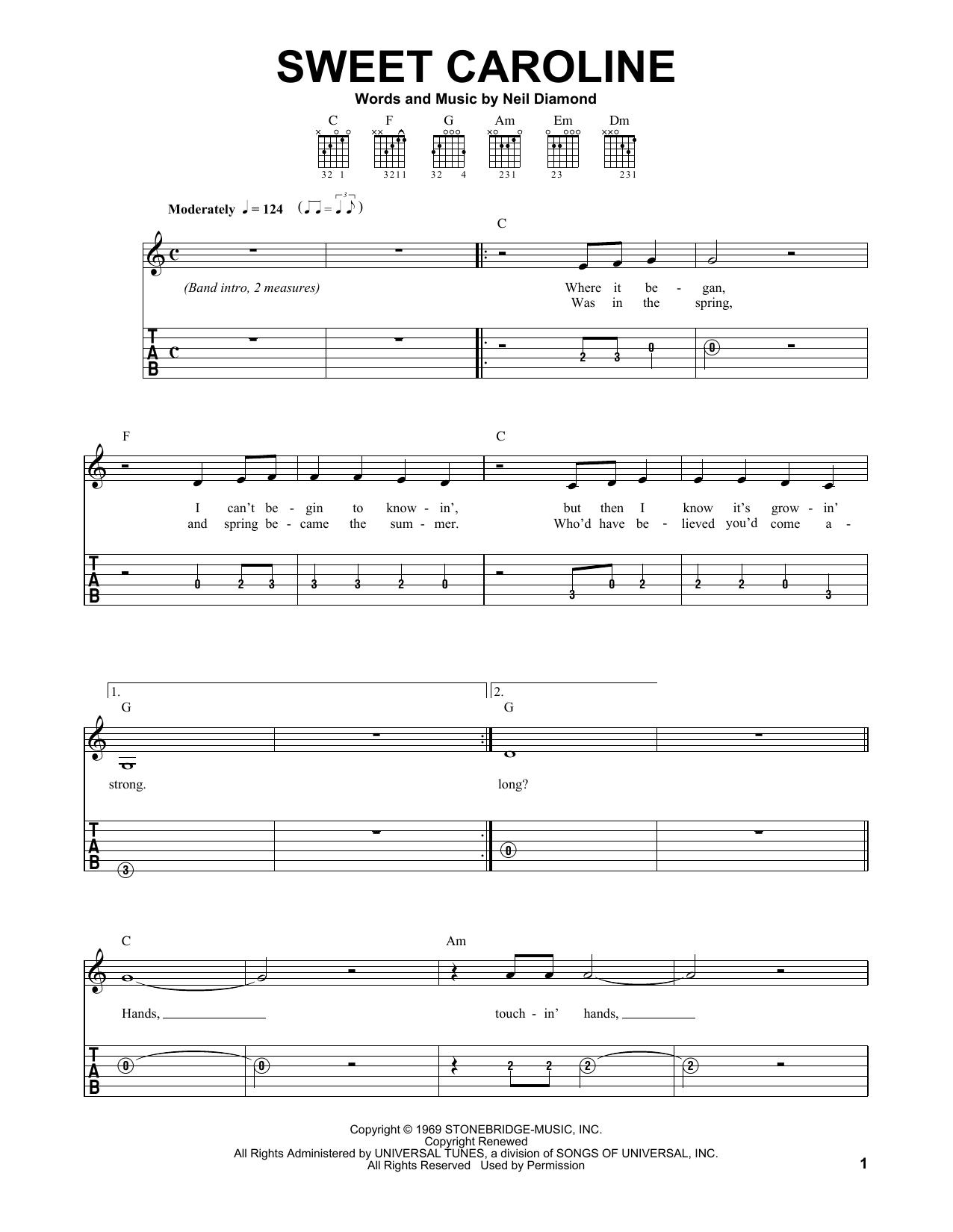 Tablature guitare Sweet Caroline de Neil Diamond - Tablature guitare facile
