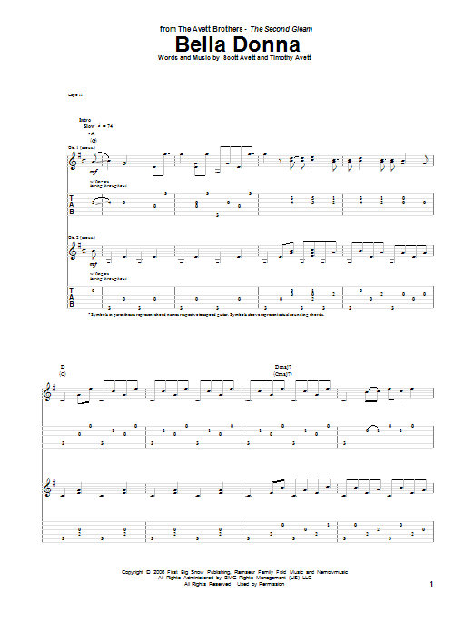 Tablature guitare Bella Donna de The Avett Brothers - Tablature Guitare