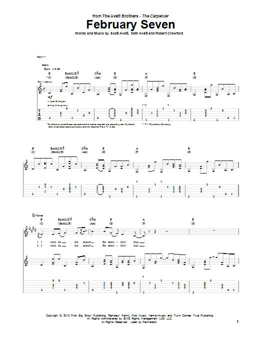 Tablature guitare February Seven de Avett Brothers - Tablature Guitare
