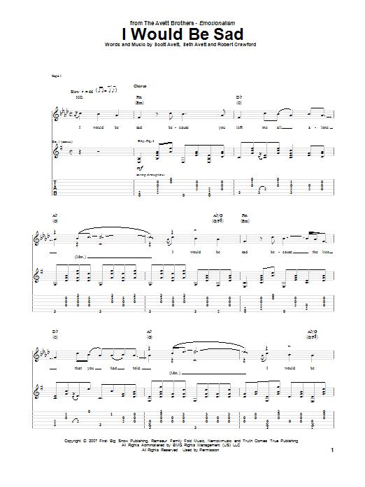 Tablature guitare I Would Be Sad de The Avett Brothers - Tablature Guitare