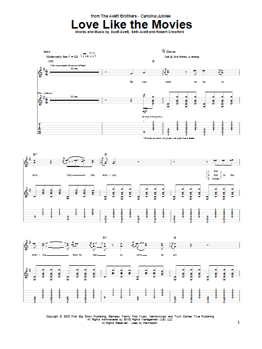Tablature guitare Love Like The Movies de The Avett Brothers - Tablature Guitare