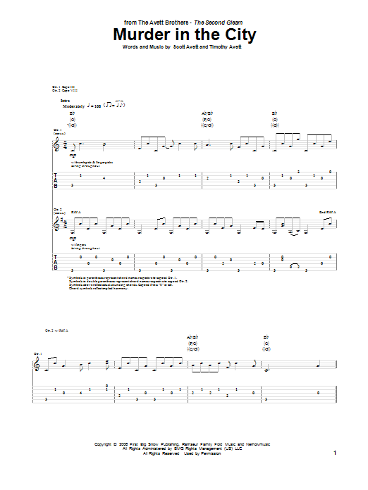 Tablature guitare Murder In The City de The Avett Brothers - Tablature Guitare